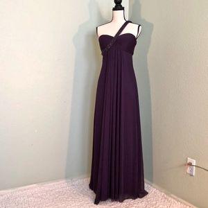 Cache Eggplant Floor Length Gown Single Strap